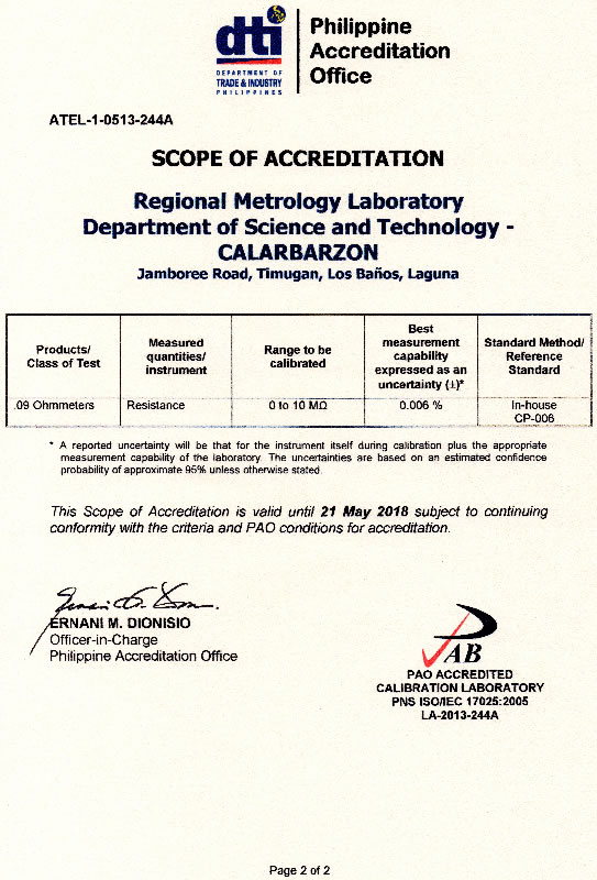 rml accreditation scope p2