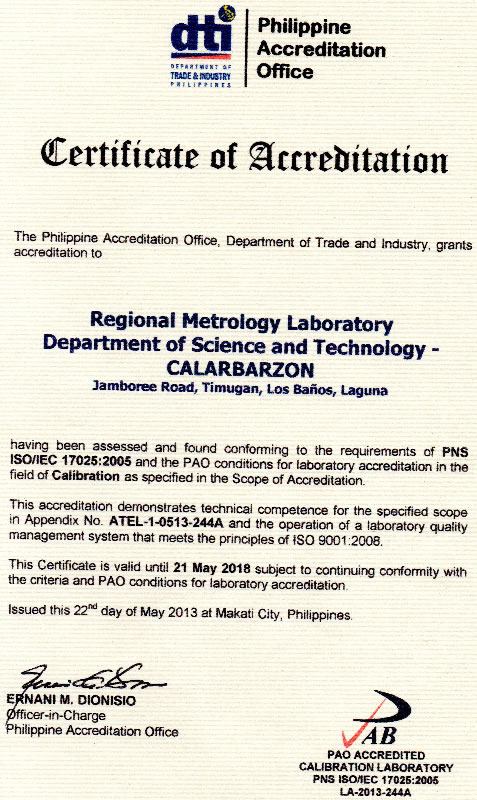 rml certificate of accreditation
